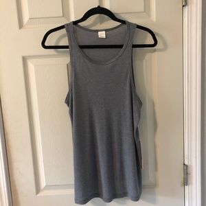Sun and Shadow Ribbed Heather Gray Tank Top